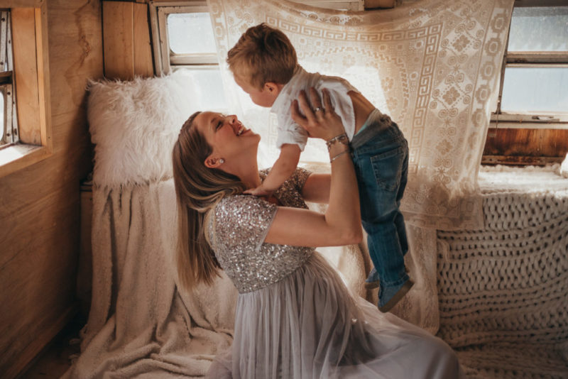 mother and son maternity picture