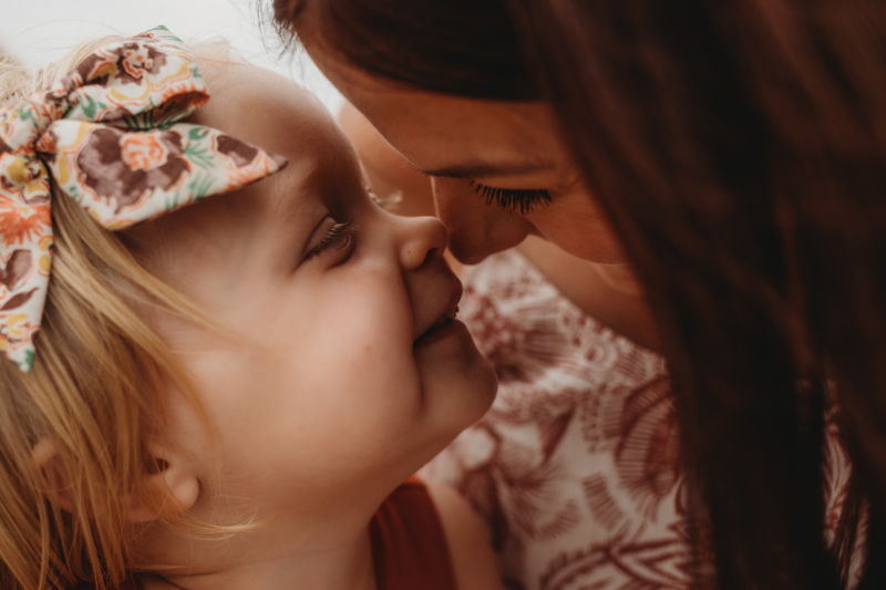 Temecula Family Photographer, mother and little daughter touching noses