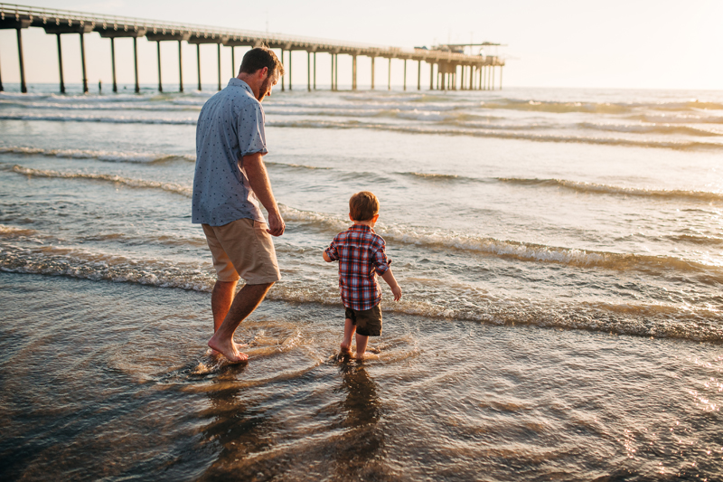 Temecula Family Photographer, father and boy walking on the beach