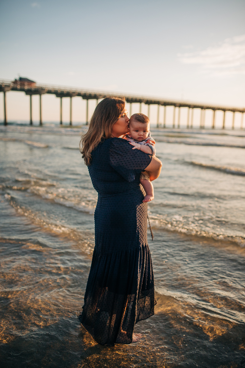 Temecula Family Photographer, mother with baby at the beach