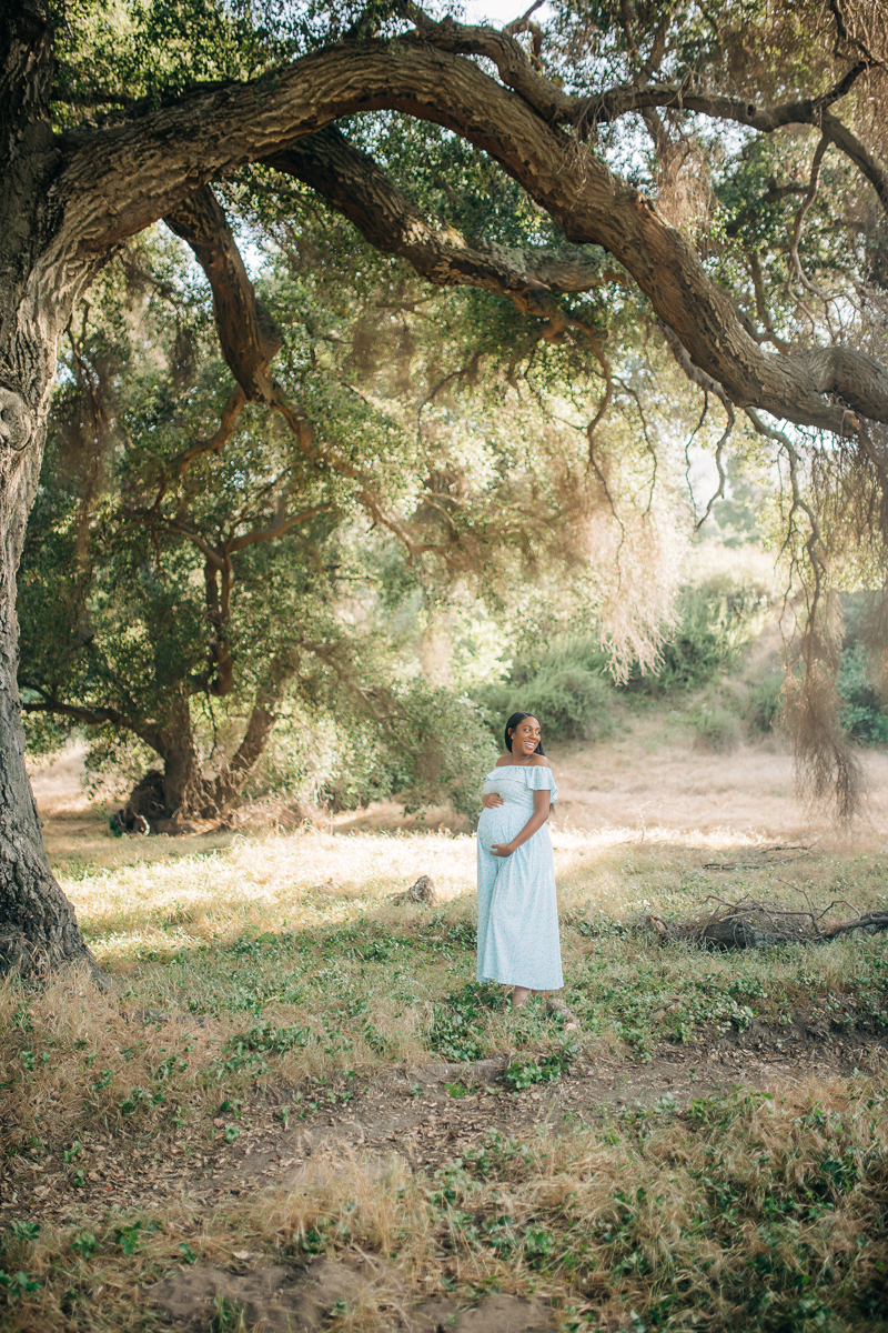 Temecula Maternity Photographer, wide angle shot of woman standing under a tree