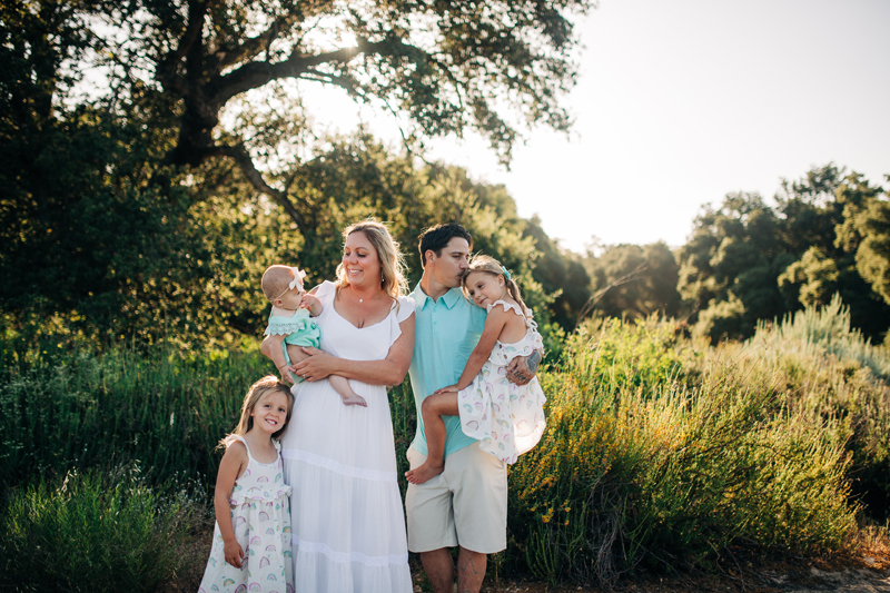 Temecula Family Photographer, family of 5 standing by a big tree